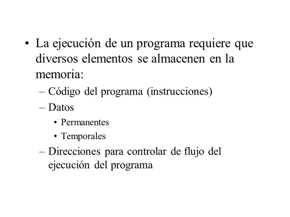 La ejecución de un programa requiere que diversos elementos se almacenen en la memoria: