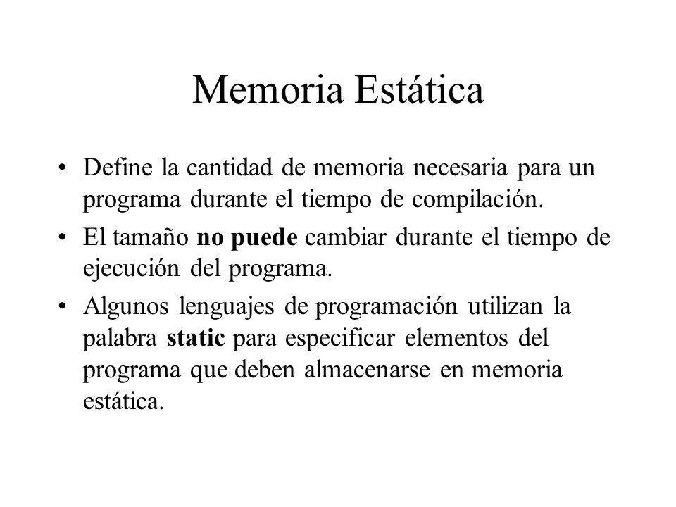 Memoria EstáticaDefine la cantidad de memoria necesaria para un programa durante el tiempo de compilación.