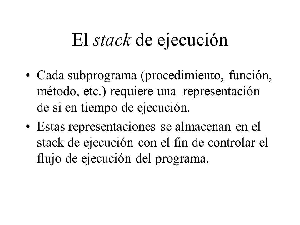 El stack de ejecuciónCada subprograma (procedimiento, función, método, etc.) requiere una representación de si en tiempo de ejecución.
