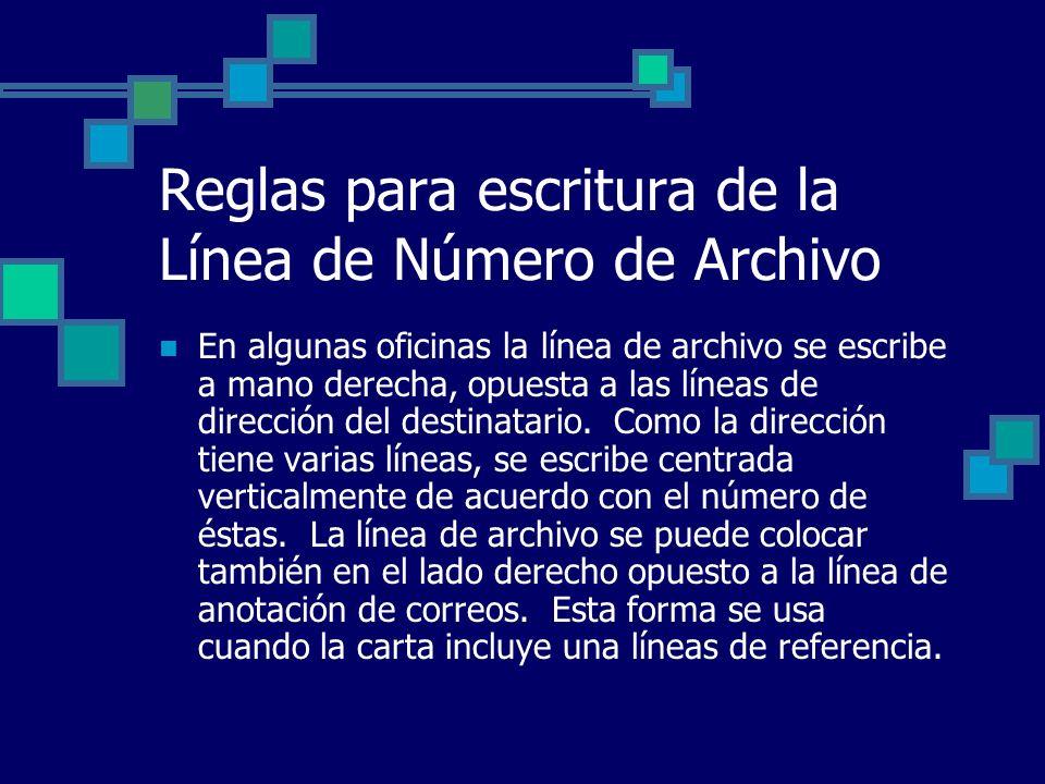 Reglas para escritura de la Línea de Número de Archivo