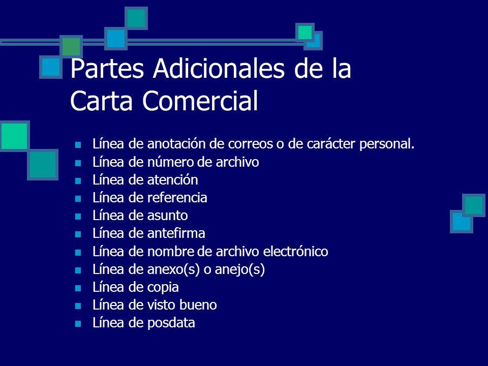 Partes Adicionales de la Carta Comercial