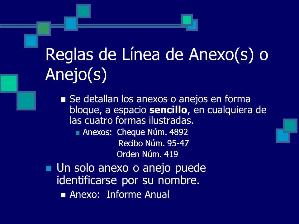 Reglas de Línea de Anexo(s) o Anejo(s)
