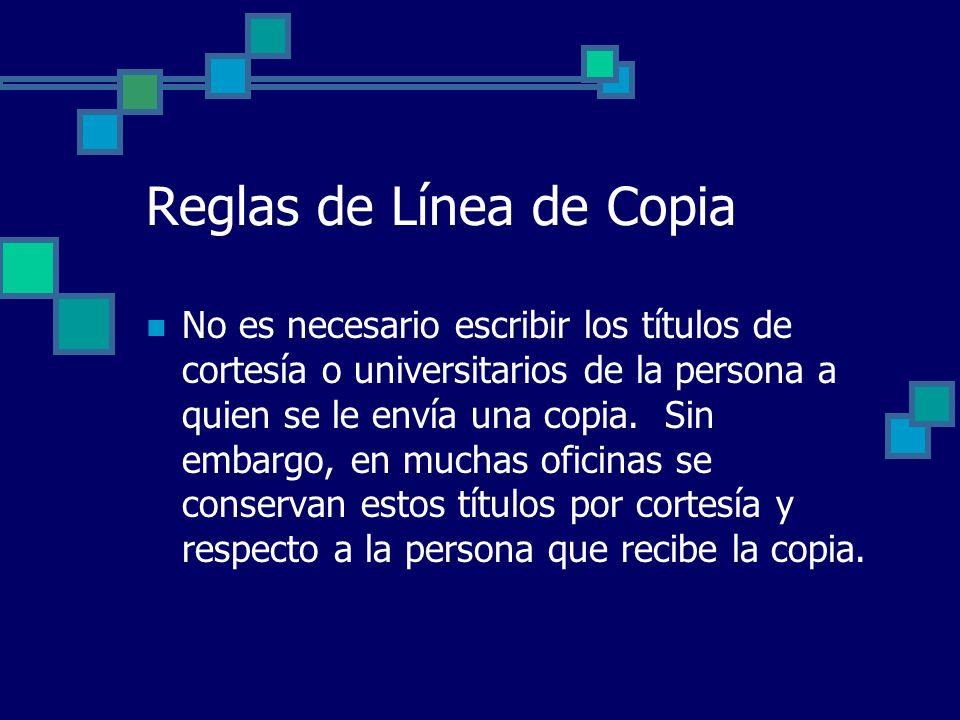 Reglas de Línea de Copia