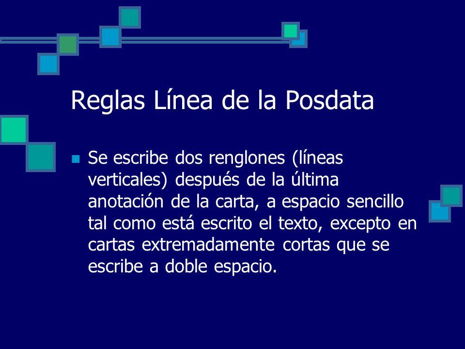 Reglas Línea de la Posdata