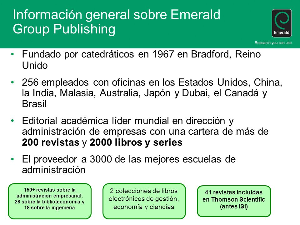 Información general sobre Emerald Group Publishing
