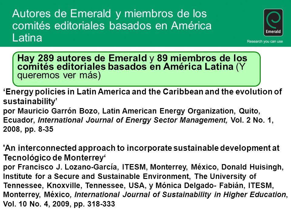 Autores de Emerald y miembros de los comités editoriales basados en América Latina