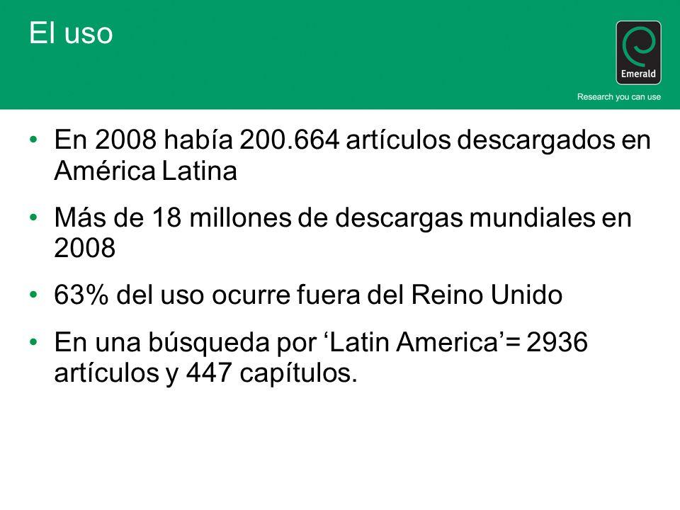El uso En 2008 había 200.664 artículos descargados en América Latina