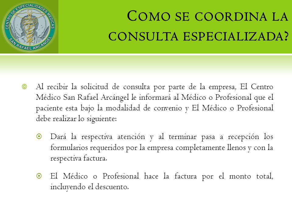 Como se coordina la consulta especializada