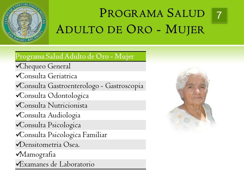 Programa Salud Adulto de Oro - Mujer