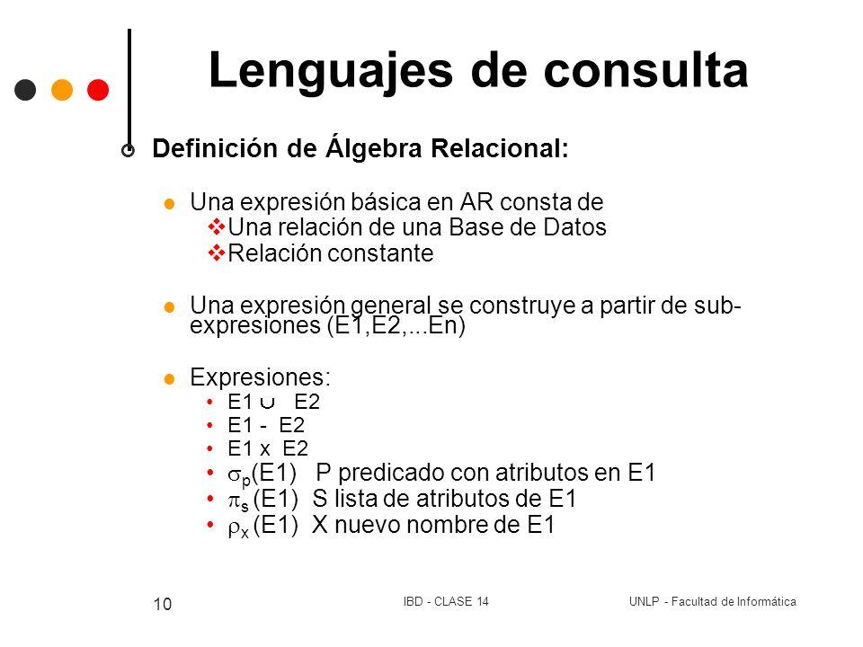 Lenguajes de consulta Definición de Álgebra Relacional: