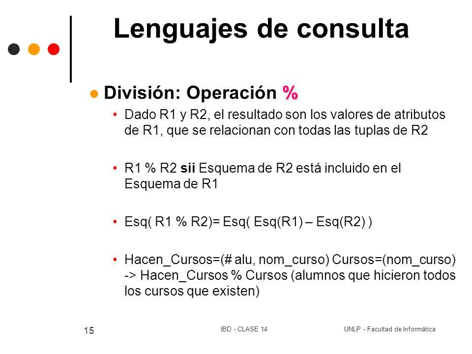 Lenguajes de consulta División: Operación %