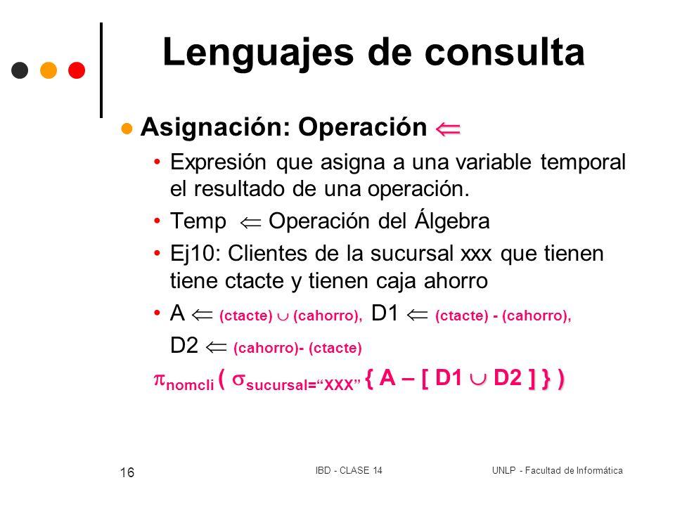 Lenguajes de consulta Asignación: Operación 