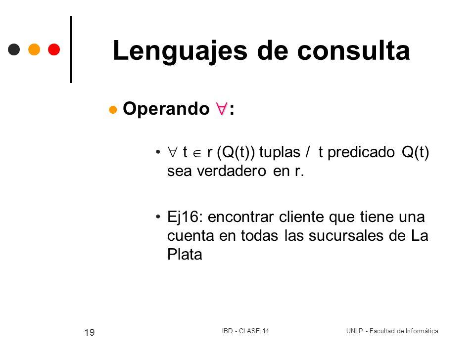 Lenguajes de consulta Operando :
