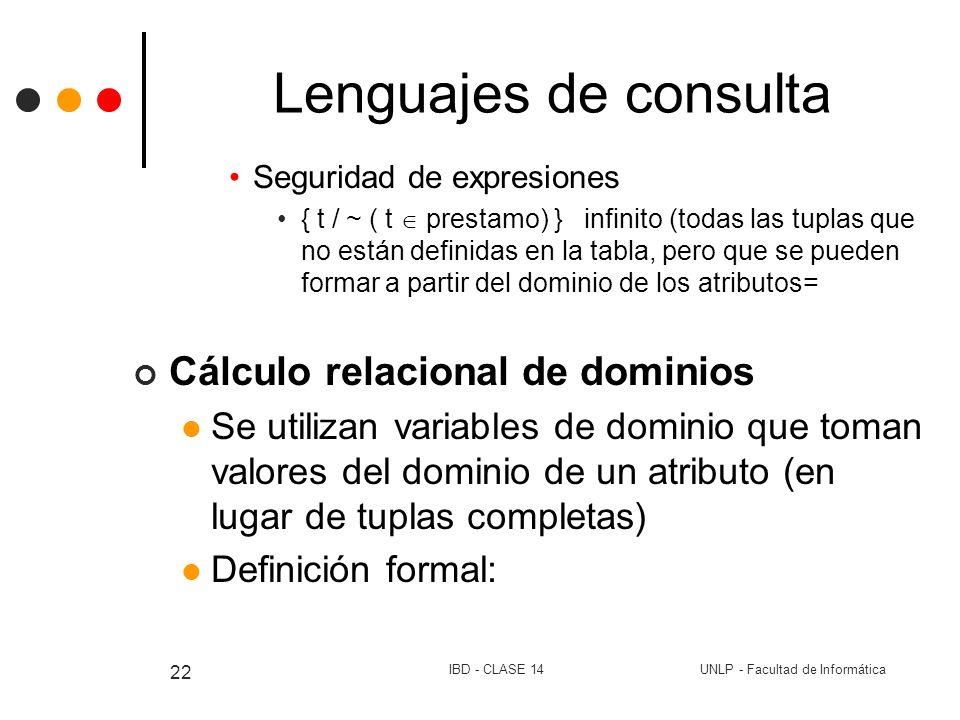 Lenguajes de consulta Cálculo relacional de dominios