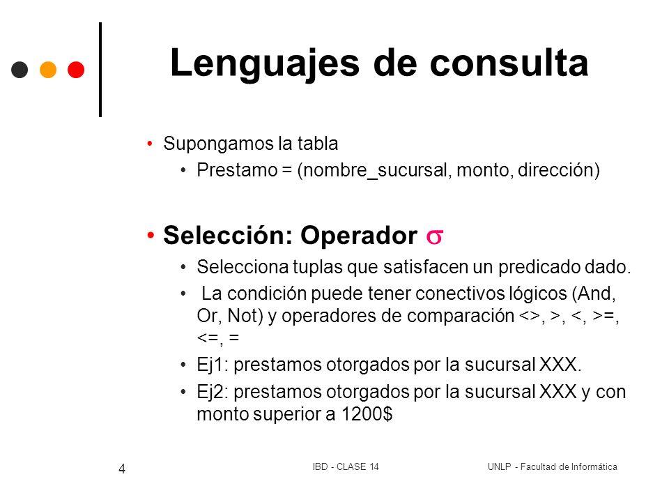 Lenguajes de consulta Selección: Operador  Supongamos la tabla