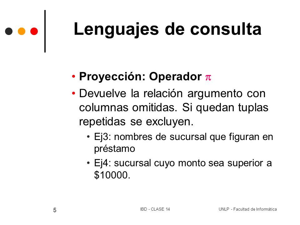 Lenguajes de consulta Proyección: Operador 