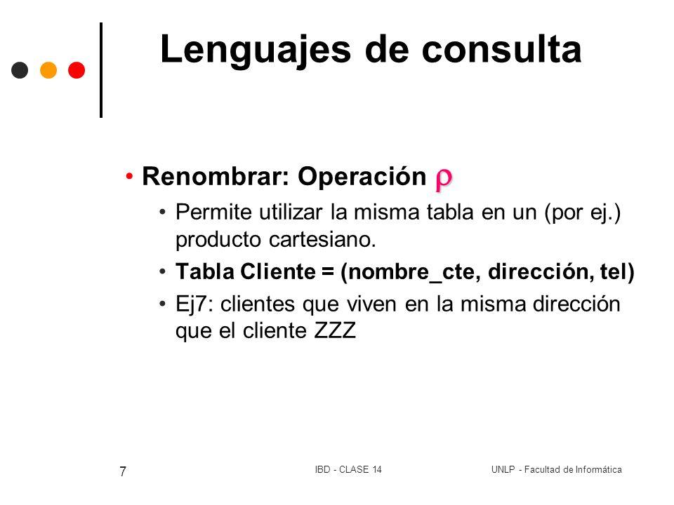 Lenguajes de consulta Renombrar: Operación 