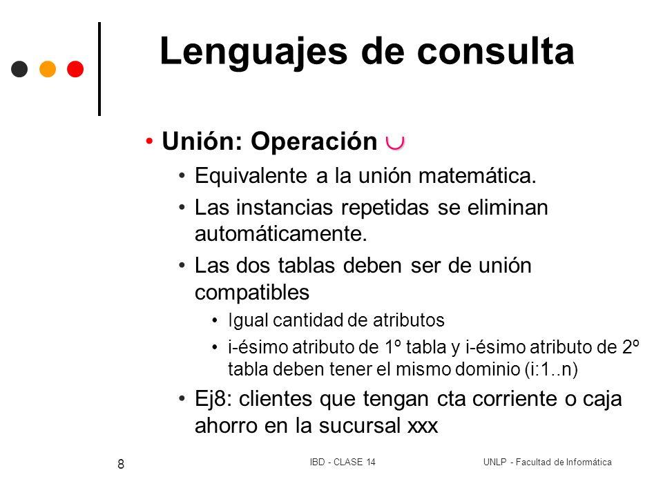 Lenguajes de consulta Unión: Operación 
