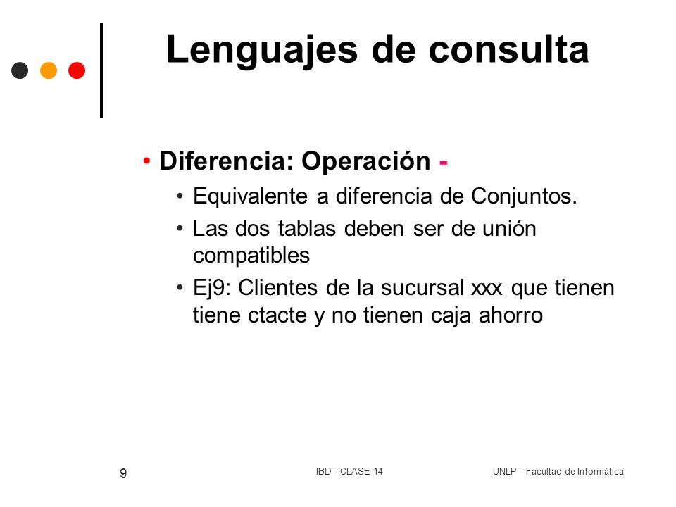 Lenguajes de consulta Diferencia: Operación -