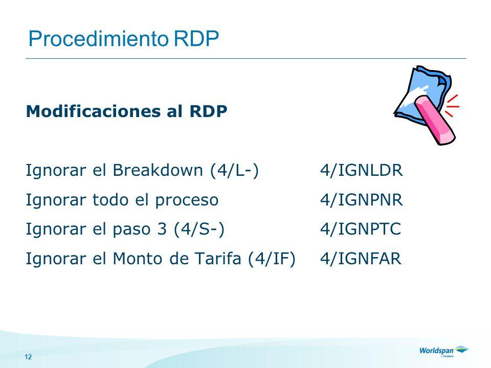 Procedimiento RDP Modificaciones al RDP