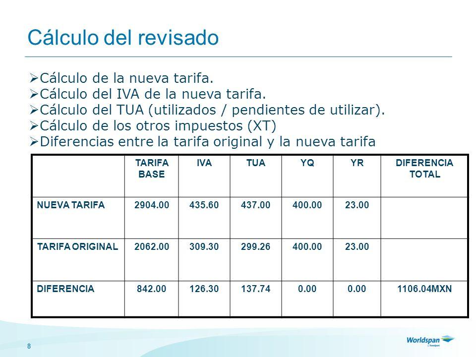 Cálculo del revisado Cálculo de la nueva tarifa.