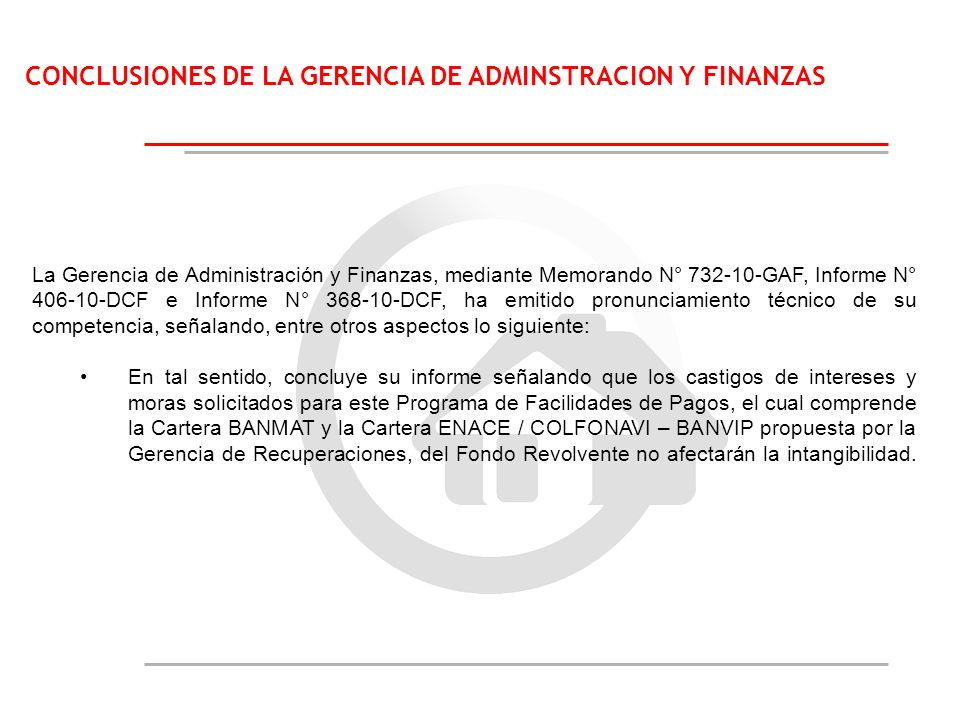 CONCLUSIONES DE LA GERENCIA DE ADMINSTRACION Y FINANZAS