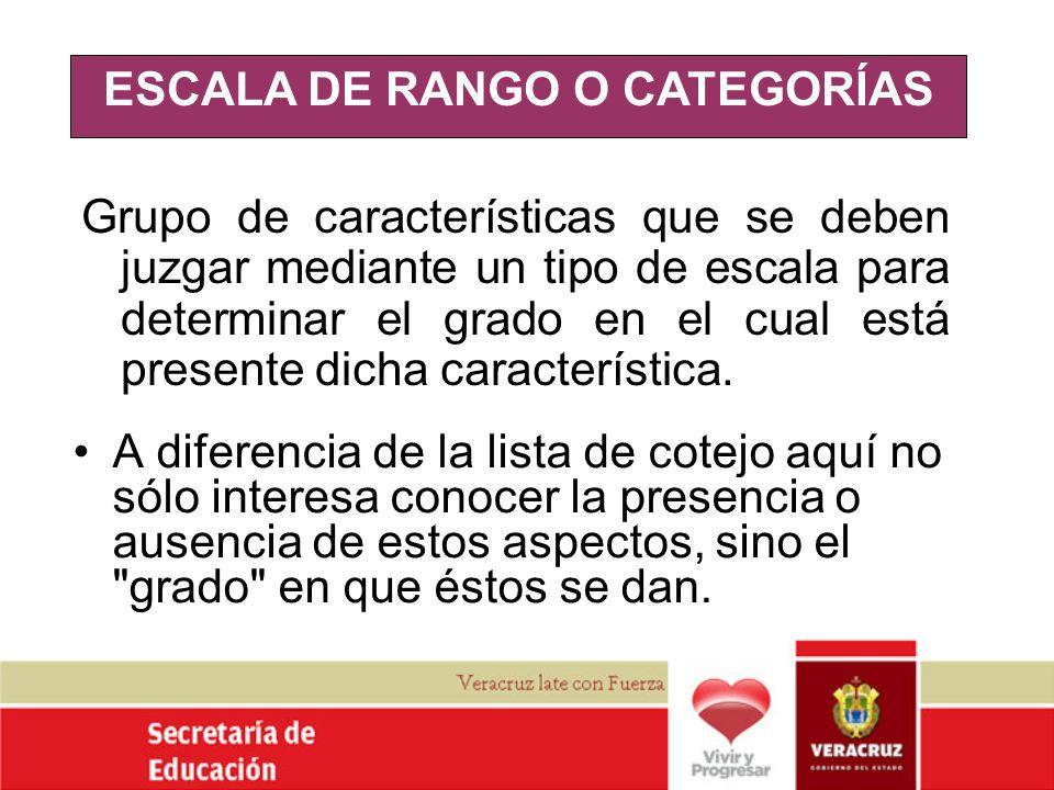ESCALA DE RANGO O CATEGORÍAS