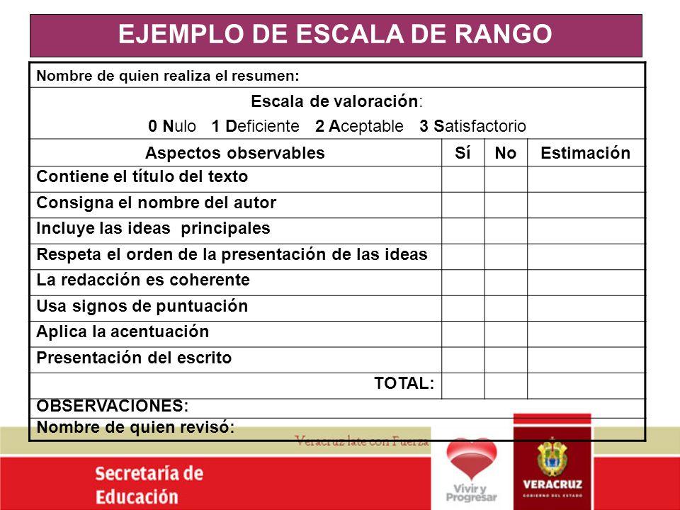 EJEMPLO DE ESCALA DE RANGO