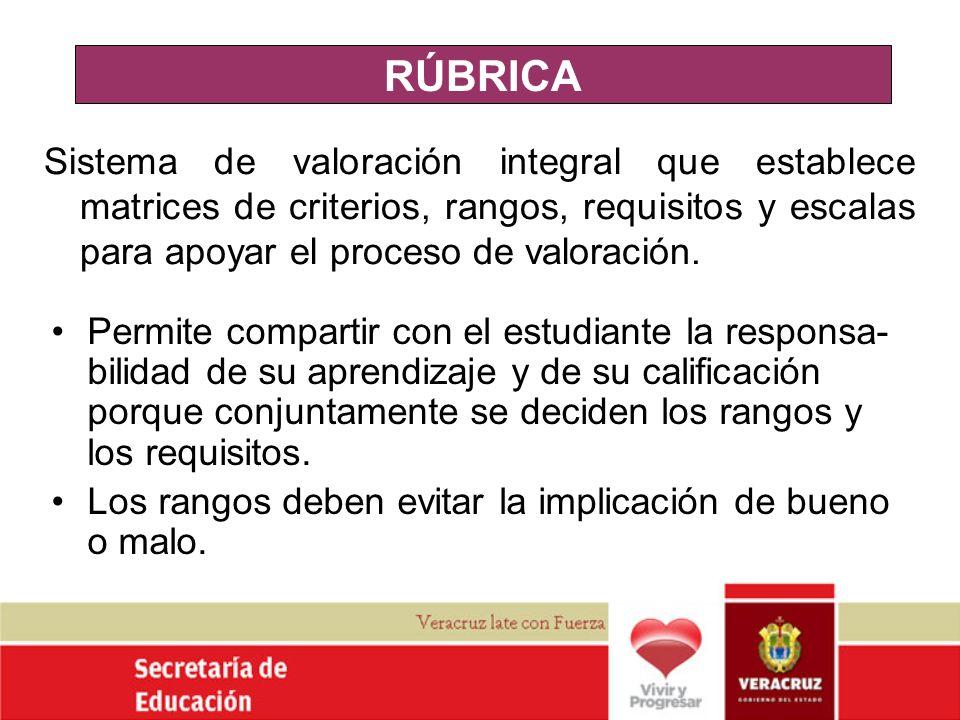 RÚBRICA Sistema de valoración integral que establece matrices de criterios, rangos, requisitos y escalas para apoyar el proceso de valoración.