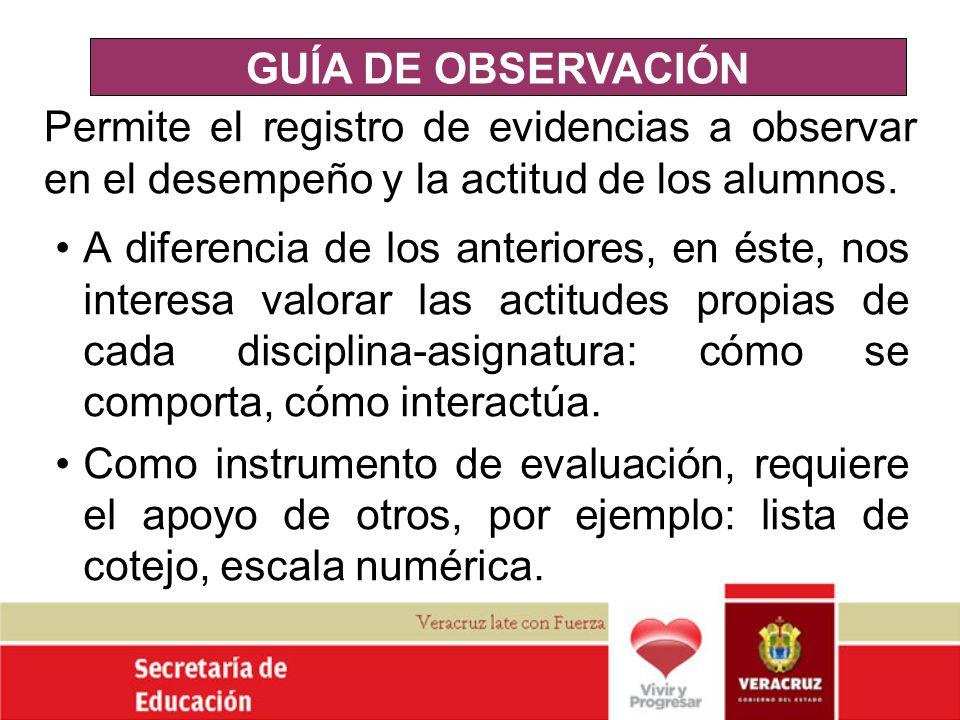 GUÍA DE OBSERVACIÓN Permite el registro de evidencias a observar en el desempeño y la actitud de los alumnos.