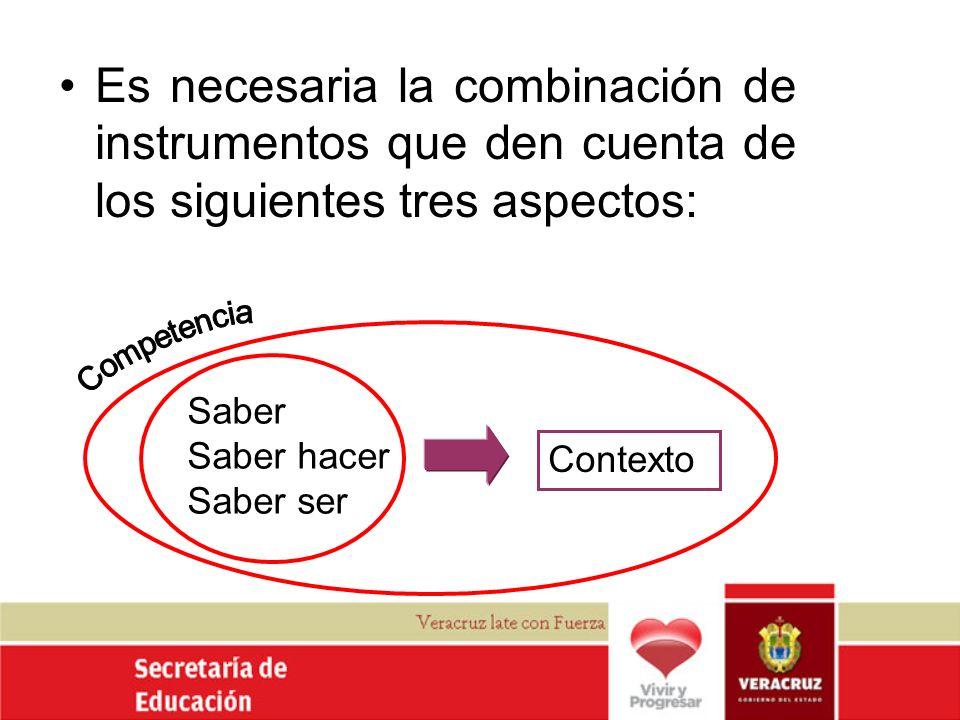 Es necesaria la combinación de instrumentos que den cuenta de los siguientes tres aspectos:
