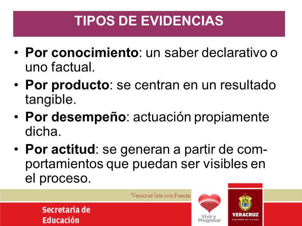 TIPOS DE EVIDENCIAS Por conocimiento: un saber declarativo o uno factual. Por producto: se centran en un resultado tangible.