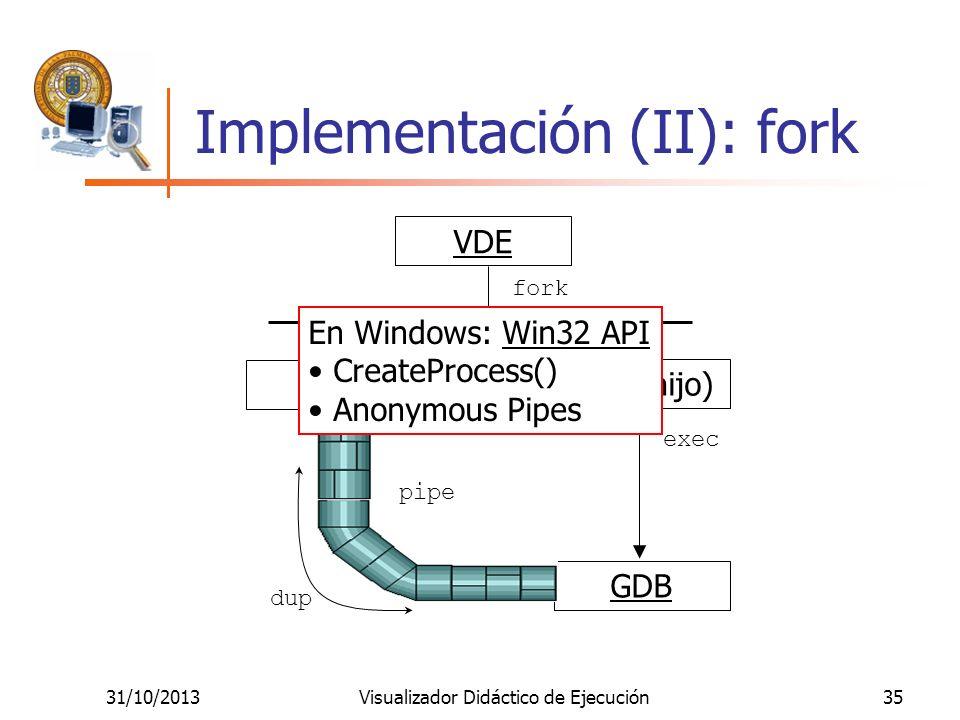 Implementación (II): fork