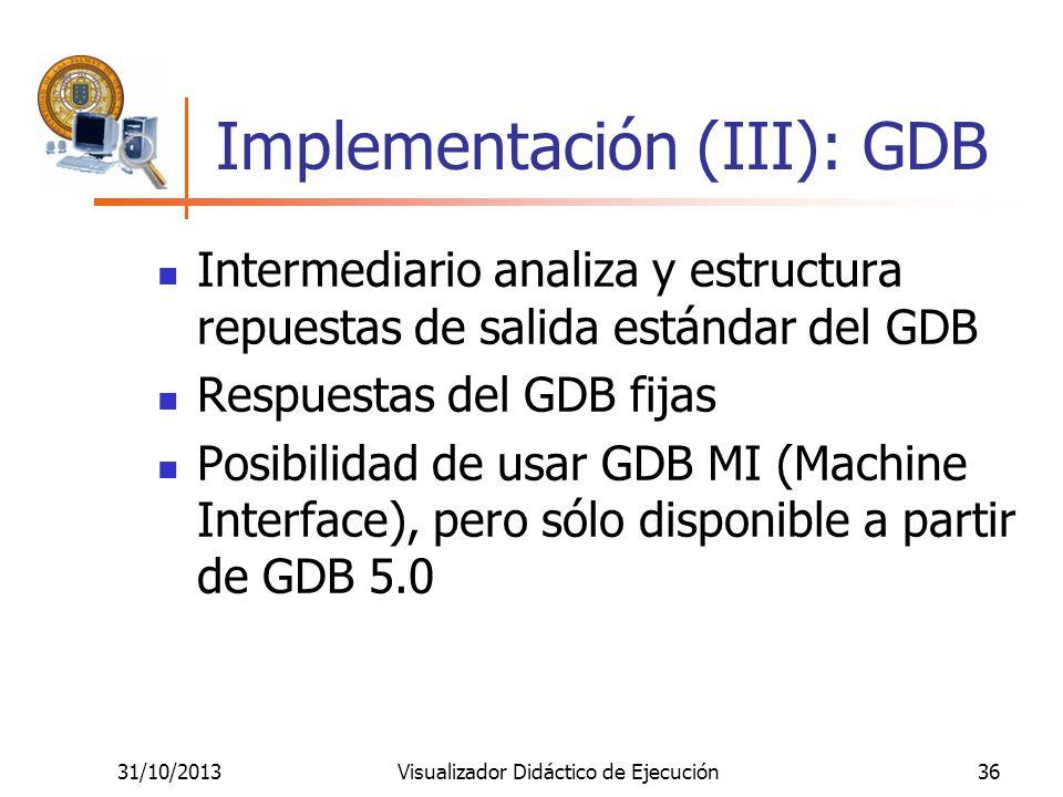 Implementación (III): GDB