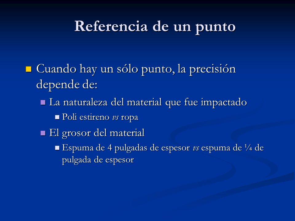 Referencia de un punto Cuando hay un sólo punto, la precisión depende de: La naturaleza del material que fue impactado.