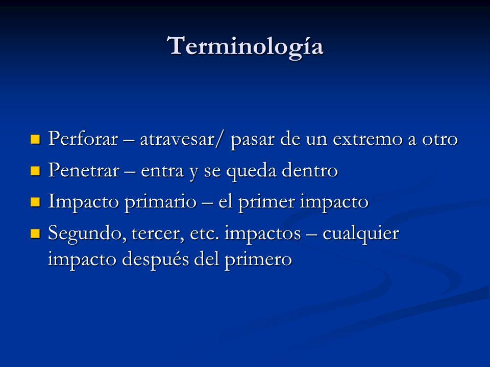 Terminología Perforar – atravesar/ pasar de un extremo a otro
