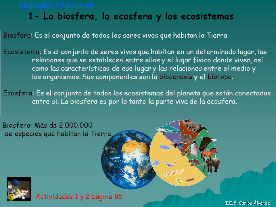 1- La biosfera, la ecosfera y los ecosistemas