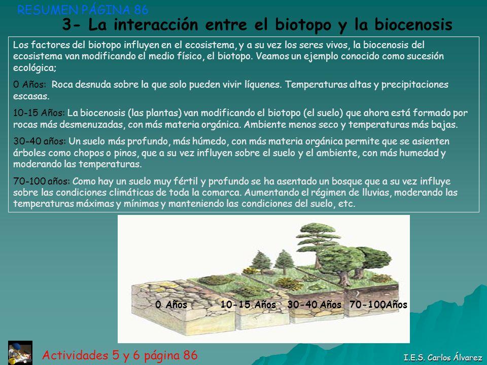 3- La interacción entre el biotopo y la biocenosis