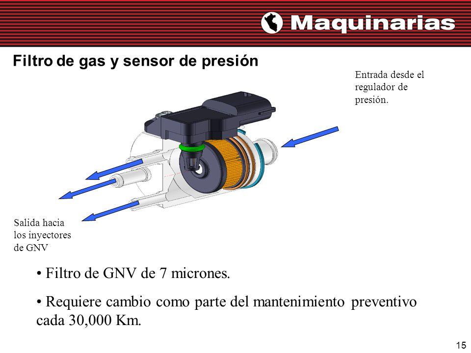 Filtro de gas y sensor de presión