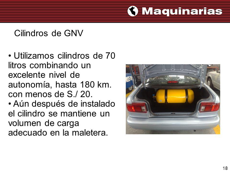 Cilindros de GNV Utilizamos cilindros de 70 litros combinando un excelente nivel de autonomía, hasta 180 km. con menos de S./ 20.