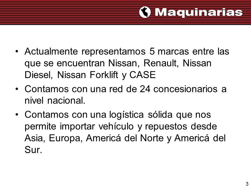 Actualmente representamos 5 marcas entre las que se encuentran Nissan, Renault, Nissan Diesel, Nissan Forklift y CASE
