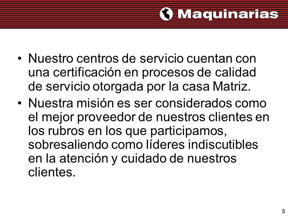 Nuestro centros de servicio cuentan con una certificación en procesos de calidad de servicio otorgada por la casa Matriz.
