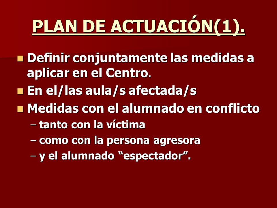 PLAN DE ACTUACIÓN(1). Definir conjuntamente las medidas a aplicar en el Centro. En el/las aula/s afectada/s.