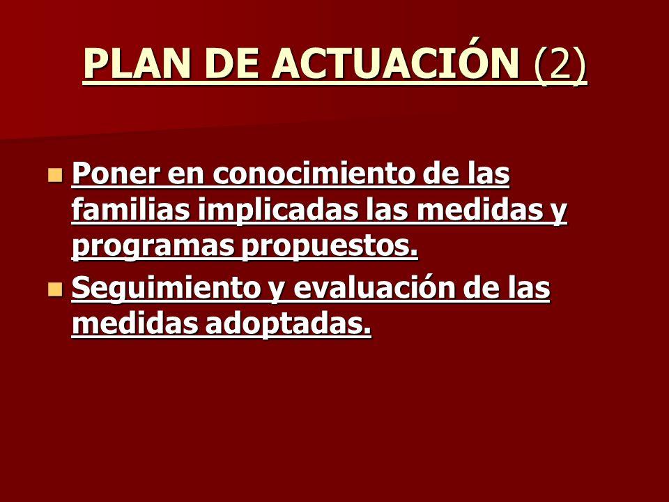 PLAN DE ACTUACIÓN (2) Poner en conocimiento de las familias implicadas las medidas y programas propuestos.