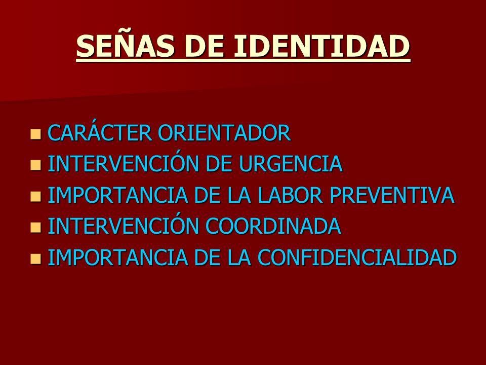 SEÑAS DE IDENTIDAD CARÁCTER ORIENTADOR INTERVENCIÓN DE URGENCIA