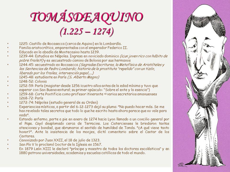 TOMÁSDEAQUINO (1.225 – 1274) 1225: Castillo de Rocasecca (cerca de Aquino) en la Lombardía.