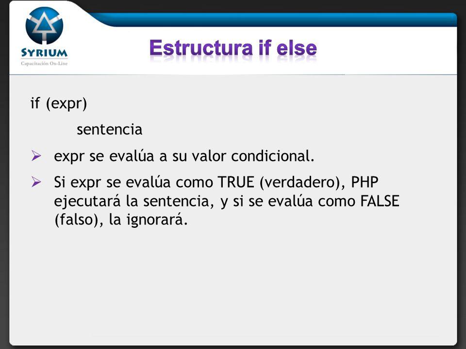 Estructura if else if (expr) sentencia