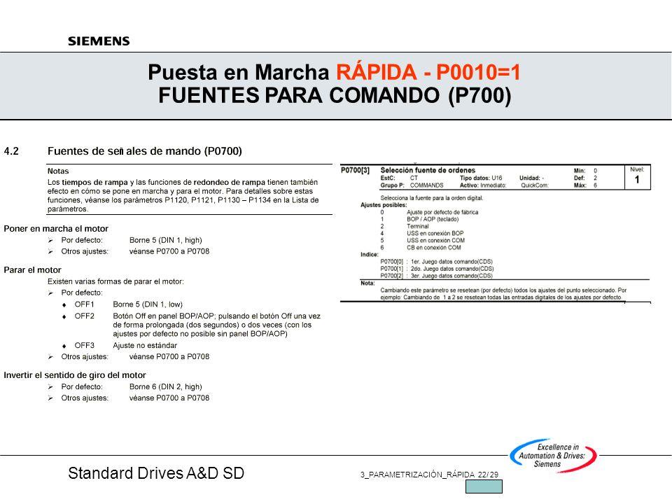 Puesta en Marcha RÁPIDA - P0010=1 FUENTES PARA COMANDO (P700)