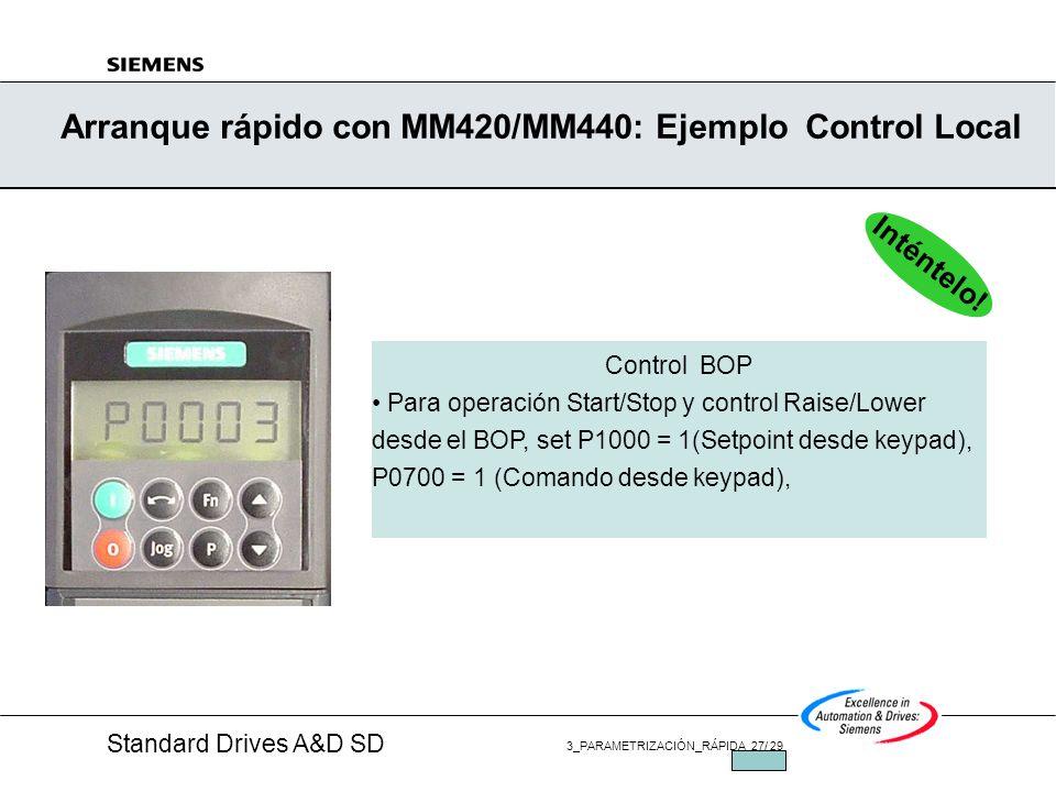 Arranque rápido con MM420/MM440: Ejemplo Control Local