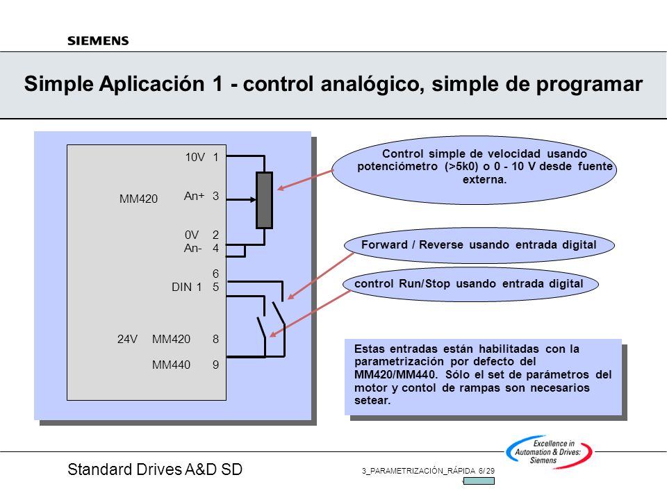 Simple Aplicación 1 - control analógico, simple de programar